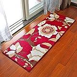 AAWCCP Teppich Europäische Mat Matratze Tür Eingang Küche Lange Fuß Pad Tür zum Badezimmer Tür Bad Anti - Skid Saugfähige Pad,45 * 120 cm,Laubbäume - Rot