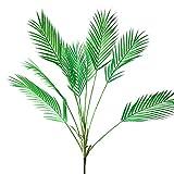 Aisamco Künstliche Tropische Palmenblatt, künstliche Pflanze in Grün, 1 Stück, Kunststoff, Areca-Palme, 9 Blätter, 88,9 cm hoch für Tropische Grünereien Akzente, Blumenarrangement
