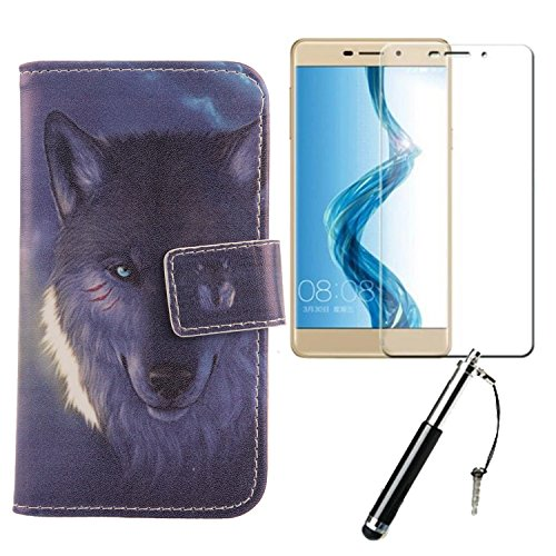 Lankashi Wolf Design 3in1 Zubehör Set PU Flip Leder Tasche Für Coolpad Modena 2 5.5