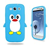 Brand New High Quality Samsung Galaxy S3 SIII I9300 Aqua Blue Penguin Design Silicone Case Cover + Free Screen Protector - Part Of Fab Mobile Phone Accessories Range