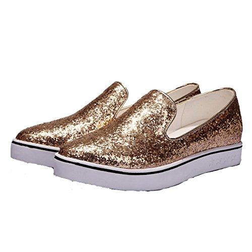 AllhqFashion Damen Niedriger Absatz Rein Ziehen Auf Weiches Material Spitz Zehe Pumps Schuhe Golden