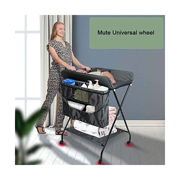 MUBAY Home Care Folding Table With Storage Basket and Shelf Baby Care Table, Baby Changing Table Baby Bathing Table Massage Touch Table Can Be Folded (Color : Blue) MUBAY Infant Changing Table Material: PU Oxford cloth + iron pipe. Baby Changing Table can be used as baby massaging table as well. It offers the comfort and practicality. It is designed at the proper height of parent to prevent mom's back aches and pains from kneeling or bending when changing diapers to babies. It has open shelving which adds extra security. Changing Diaper Station Stable Construction - Non-skid feet covers and a sturdy frame keep the table stable and prevent movement. All our products are designed with the safety of your little ones in mind. 3
