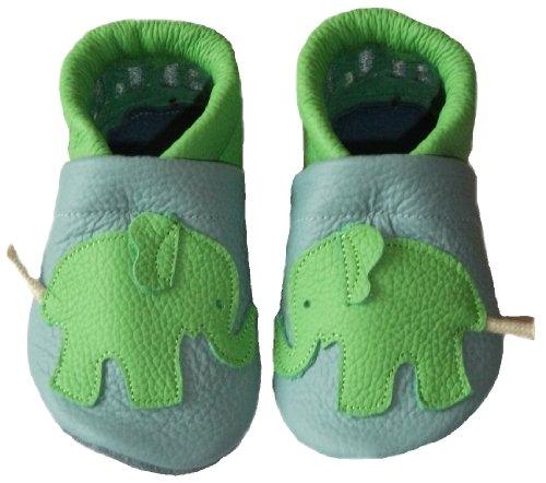 JANAs Krabbelschuhe, Unisex-Kinder, Motiv Elefant , hellblau, apfelgrün Hellblau
