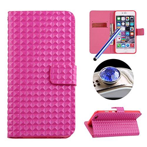 Etche Case pour iPhone 6/6S 4.7 pouces,Housse en cuir pour iPhone 6/6S 4.7 pouces,Étui portefeuille pour iPhone 6/6S 4.7 pouces,Cas mignon pour iPhone 6/6S 4.7 pouces,Luxe élégant Conception bowknot B rose vif