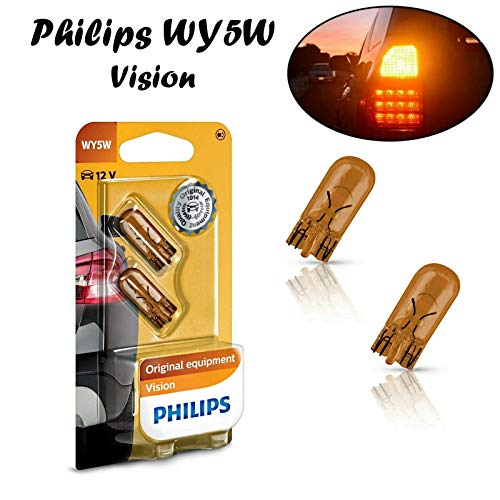 2x Philips Vision WY5W 12V T10 W2.1x9x5d 12396NAB2 High Tech Orange Amber Ersatz Halogen Birne für Blinkleuchte - Blinker vorne Blinker hinten Blinker seitlich E-geprüft