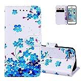 Aeeque Coque iPhone 5S Blanc, Luxe Petit Fleurs Bleu Motif Housse iPhone SE 4.0' en...