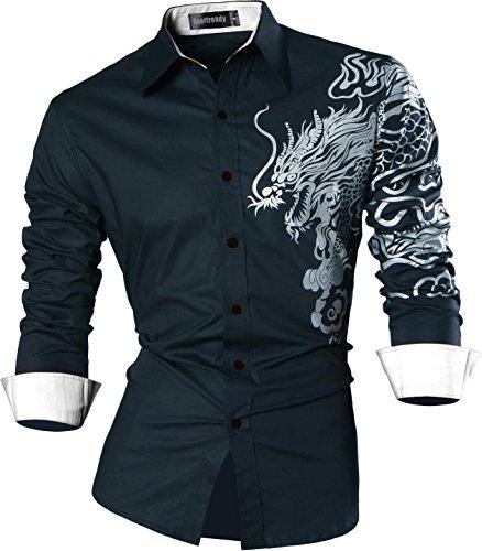 Sportrendy uomo camicie unico drago cinese tatuaggio moda tattoo slim shirts men top jzs041 navy l