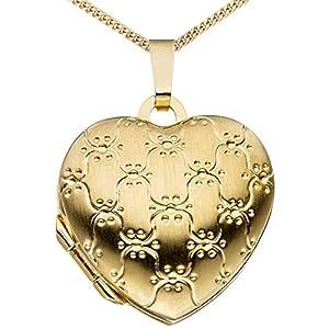 Medaillon Herz teilmattiert Ornament verziert 333 Gelbgold 8 Karat Gold zum Öffnen für Bildereinlage 2 Fotos Amulett Feng Shui Verzierung von Haus der Herzen® mit Schmuck-Etui
