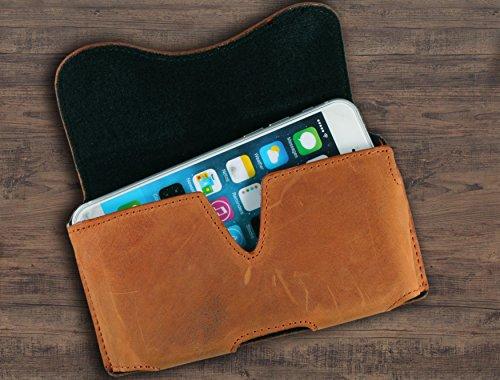 Matador Apple iPhone X Ledertasche Handytasche Gürteltasche ECHT Vintage Leder Hülle Case mit Gürtelclip, Schlaufe und Magnetverschluss Rost Hell Braun Rost Braun