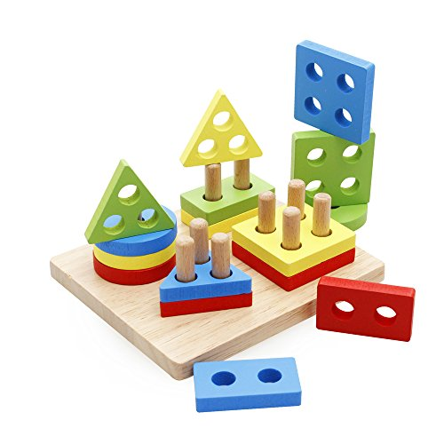 Rolimate Wooden Baby Shape & Color Recognition Colorful Geometric Board Stack &...