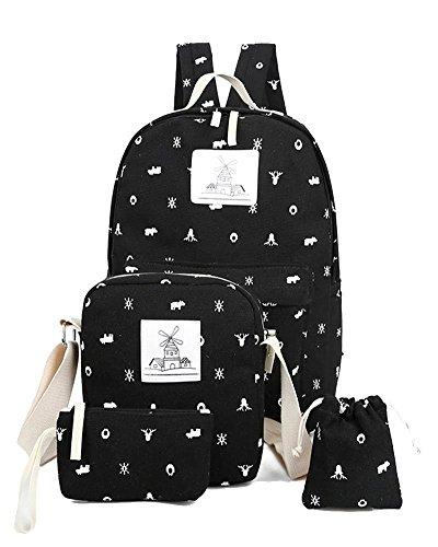YiLianDa Ragazze Zaino Scuola Adolescenti Canvas Backpack Zaino Spalla Viaggio Daypacks 4pcs Nero
