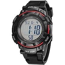 d7c614536a42 Feoya Deportivo LED Reloj Digital de Cuarzo con Multifunciones Calendario  Alarma Cronómetro 50M Waterproof Watch para