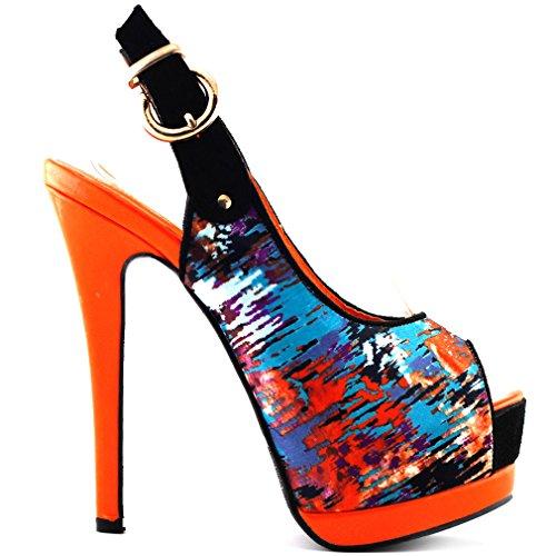 Histoire de voir la Sexy Peep Toe Double plate-forme Slingback parti pompes chaussures à talon, LF80901 Orange