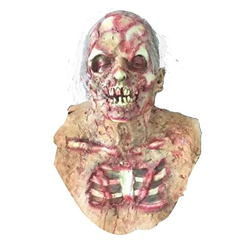 Erwachsene Für Face Ghost Kostüm - YIDAINLINE Erwachsene Ghost Face Mask Horror Terrorist Zombie Scary Halloween Kostüm Maske Latex Horror Bloody Face Scary Ekelhaft Ghost Mask für Erwachsene Kostüm Party Cosplay