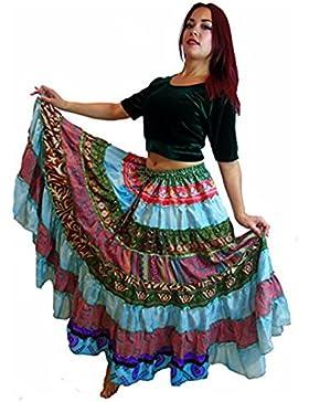 1 - 7 Yard Tribal Gypsy Maxi Tiered Falda Belly Dancing Faldas Seda Blend Banjara Se ajusta S M L XL, un talla...