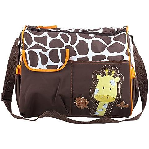 TRIXES, borsa per cambio neonati con giraffa, incluso tappetino per il cambio e busta trasparente per