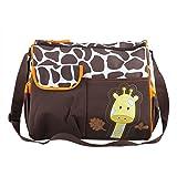 TRIXES Baby Windeltasche Wickeltasche braune Tasche mit Giraffe und grünen