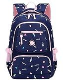 FLHT, Kinder Schultasche 2-6 Klasse Grundschule Jungen Und Mädchen Rucksack, 8-12 Jahre Leichte Gewicht Verlust Wasserdichte Reiserucksack,Darkblue-OneSize