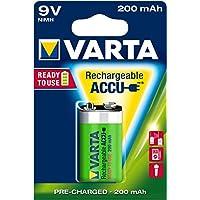 Varta ACCU - Pack de 1 pila recargable (9 V, NiMH, 200 mAh, precargada)