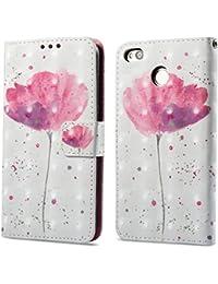 Ooboom® Xiaomi Redmi 4X Funda 3D Magnético Flip Wallet Case Cover Carcasa Piel PU Billetera Soporte para Xiaomi Redmi 4X - Flor Púrpura