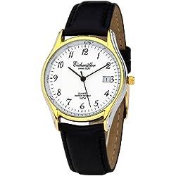Klassische Eichmüller Uhr Leder Armbanduhr mit Datum Herrenuhr Miyota 1M12