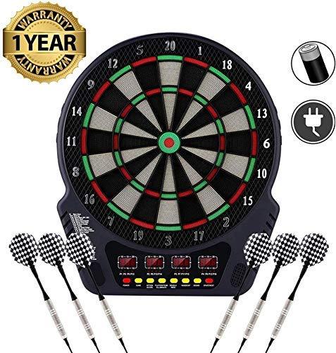 Serface Elektronische Dartscheibe - Dart Scheibe E Dartboards Dartautomat mit 6 Dartpfeile - 27 Spielen und 243 Varianten für 16 Spiele (Schwarz - Style2)