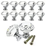 Racksoy Zinc Alloy Crystal Drawer Pull Furniture Handle with Screw, Silver and Transparent (10pcs)