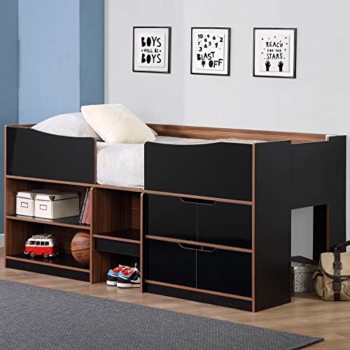 Happy Beds Paddington Wooden Cabin Bed Black and Walnut for sale  Delivered anywhere in UK
