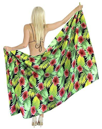 La Leela Frauen likre Verpackung Pareo Strand Vintage Hibiskus Hawaii Sarong 88x39 rot (Sarong Kleid Hibiskus)