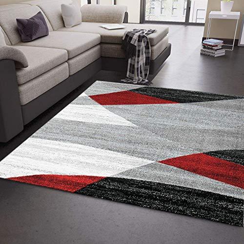 VIMODA Wohnzimmer Teppich Modern Geometrisches Muster Gestreift Meliert in Rot Grau Weiß Schwarz 160x220 cm -