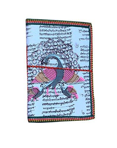 Diario de papel hecho a mano, de Purpledip, cuaderno con estampado de pavo real en diseño tradicional indio, cuerda de algodón para sujetar las tapas, en estilo bahi-khaata (10497)