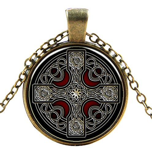 Ultra ® Keltisches Kreuz Style Classic Unisex Steampunk Halskette Great Styles Unisex Gothic Cosplay Vintage Cyber Männer Frauen Schmuck Cosplay Schädel Zahnräder Designs