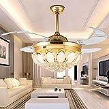 Ventilateur de plafond en cristal LED télécommande avec lumières Lampe de ventilateur LED invisible moderne (42 in)