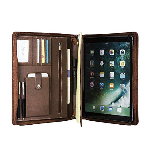 Professionelle Business Padfolio Organizer Echtes Schaffell Leder Konferenzmappe mit Reißverschluss, Portfolio Fall für iPad Pro 9.7/ipad Air 2/ipad Air und A4 Notebook Papier (Braun)