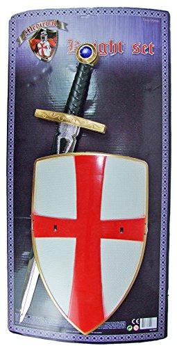 Kreuzritter Set Schwert und Schild Rot Weiß zum Kostüm Mittelalter Burgfest Ritter (Schwert Kostüme)