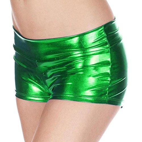 Unterwäsche Dessous lingerie Damen,Yanhoo Heiße Mode Frauen Pearl G-String und Metallische Rave Booty Dance Shorts nachgemachte Licht Frauen kurze Unterwäsche (Grün, Freie Größe) (G-string-bikini-kleid)