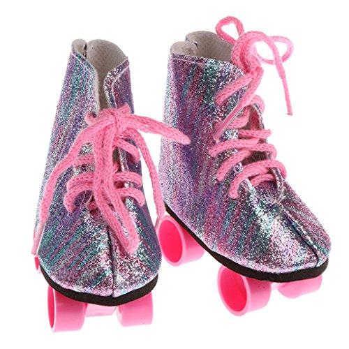 Sharplace 1 Paar Puppen Rollschuhe / Skates Schuhe mit Schnürsenkel Für 18'' American Girl Puppen Kleidung Zubehör