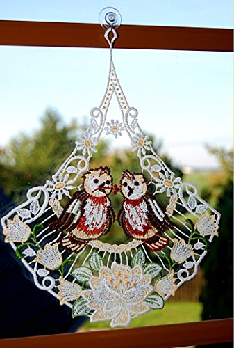 Fensterbild PLAUENER Spitze ® Fensterschmuck verliebte Vögel 24x31 cm + Saugnapf buntes Spitzenbild Frühling Sommer (Halloween-die Grenzen Transparent)