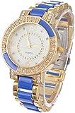 Souarts Gold Color Ceramics Rhinestone Quartz Wrist Watch Blue