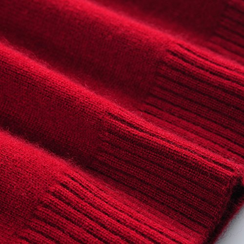 Zhili Women's 100% Pure Cashmere Round Neck Long Sleeve Wine Red