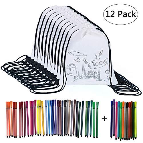 Yuccer Tüten Mitbringsel Kindergeburtstag, 12 PCS Tasche zum Bemalen mit 48 Stück Graffiti Stifte Kindergeburtstag Gastgeschenke Kleine Geschenke für Kinder