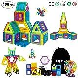 Theefun Magnetische Bausteine 100 Teiliger Bausatz mit Riesenrad Aufbewahrungstasche Büchlein Ideales Spielzeug als Geschenk für Kinder