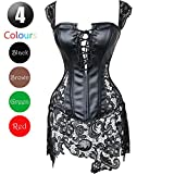 Picture Of Kiwi-Rata Lady Faux Leather Lace Up Front Zipper Back Corset Goth Bustier