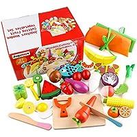 Jacootoys Juguetes de Corte de Madera Magnéticos Frutas y Verduras Juego de Alimentos con Delantal y Gorro de Cocinero para Niños Niñas