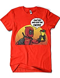 388-Camiseta Deadpool - Shut Up And Give Me Tacos