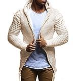 Cárdigans para Hombre, Abrigo de Punto Sólido Trinchera Chaqueta Cardigan de Manga Larga Outwear Blusa Largo Algodón Casual Coat Jacket Outwear Drape Knit Yvelands(Caqui,XXL)