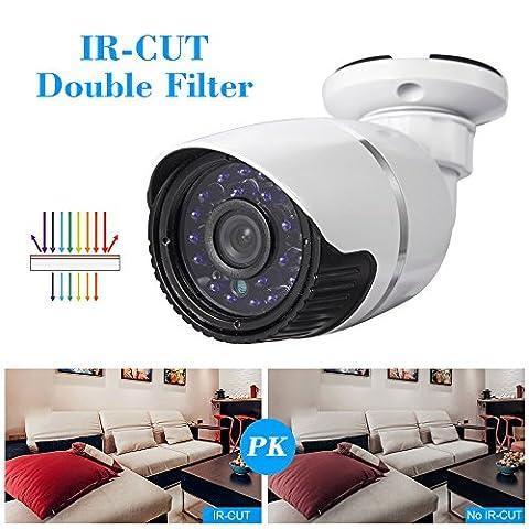 Boule cotier 1.0MP 720P Caméra de surveillance étanche caméra réseau IP pour intérieur et extérieur ONVIF étanche P2P IR-CUT Caméra Vision Nocturne 720P COMS Capteur 24LED infrarouge Prise européenne