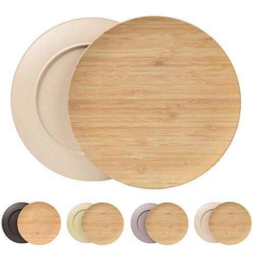 Nachhaltiges Tellerset von Kaufdichgrün I Kinderteller Campingteller Holzteller Kuchenteller Speiseteller Bambusgeschirr I 4 Stück Bambus Teller flach rund 25,5 cm elfenbein, BPA frei