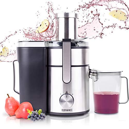 Duronic JE10 Licuadora de 1000W para frutas y verduras - 2 Velocidades - Boca Ancha 85 mm - Boquilla antigoteo - Jarra con capacidad de 1.1L - Material libre de BPA