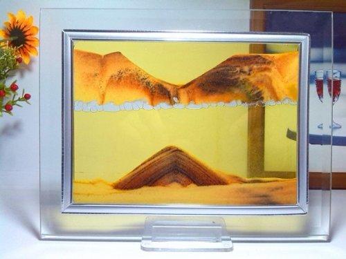 Arancione Moving Sand Glass Picture Home Office Scrivania decorazione di compleanno regalo di natale w / Holder
